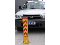 The fold down bollard stands 800mm high in the upright position