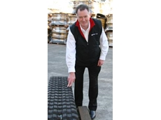Bearcat Tyres' Richard Blacker shows-off a new Solideal CTL track