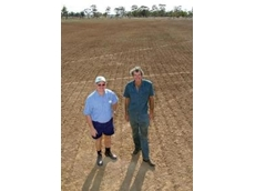 BioAg agent, Ivan Mitchell, and farmer, Alan Wragge in a direct-drilled oats crop