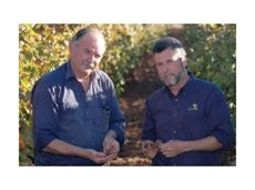 Red Cliffs grape grower, John Wrate, and BioAg Horticulturalist, Marco Retamoza.