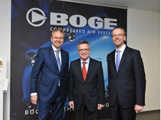 L-R: BOGE Director Wolf D. Meier-Scheuven, German Federal Minister of the Interior Dr. Thomas de Maizière MdB and BOGE Director Thorsten Meier