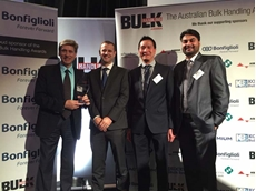 The Bonfiglioli team with their Bulk Handling Award: (L-R) Managing Director Malcolm Lewis, National Sales Manager, Matt Ryan, Finance Manager, Ha Nguyen and Mechatronics Specialist, Harry Singh