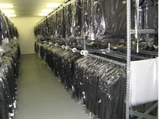 1-2-3 series long span shelving systems are ideal for use as garment shelving