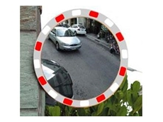 High visibility convex mirrors that are easily noticed in dimly lit areas