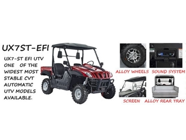 Wide for stability, UX7 ST-EFI UTV's deliver reliable performance