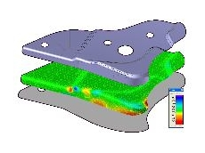 Sheet metal forming process simulation.