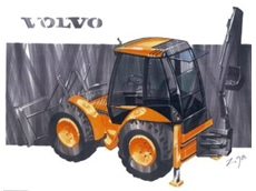 Artist's impression of the Volvo backhoe loader.