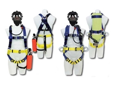 Fall protection breathing apparatus harnesses