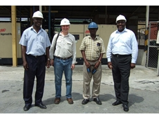 Staff from AngloGold Ashanti with CAPS staff members, Greg Baldwin, Operations Manager West Africa (second from left) and Terry Brown, Sales Manager in the Accra office (far right)