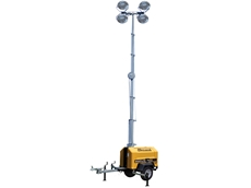 The Allmand Nite Lite Pro II has a telescoping light tower with four Super High Output 1000W metal halide lamps on an adjustable head