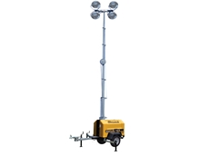 Allmand Mine Spec has a telescoping light tower with six Super High Output 1250W metal halide lamps on an adjustable head