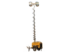 The Allmand Mine Spec has a telescoping light tower with six Super High Output 1250-Watt metal halide lamps on an adjustable head