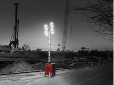 CPLB 6 LED light towers feature LED luminaires with special optics providing ultra-bright light equivalent to the lighting efficacy of four standard 1,000 W halide lights