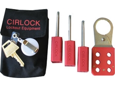 Belt bags with lockout padlocks