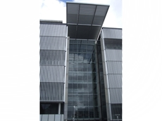 Colt's Ellisse sun tracking vertical system installed at an office tower on Waterloo Road, North Ryde, NSW