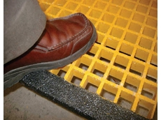 Solid nose stair treads are manufactured from chemically resistant resins