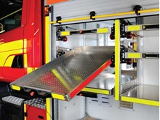Accuride AL4190 tilt track system in a fire truck application