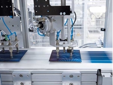 Solar panel production by Conergy, which specialises in the design, finance, build and operation of high performance solar systems for utility-scale and large-scale commercial projects