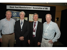 Joining Craig Mostyn Group CEO David Lock (2nd from right) at Grains West Expo 2009 in Perth on August 19 after his presentation on how livestock production can be more viable in WA were (L to R) Grains West Expo Chairman Jon Slee, Stock Feed Manufac