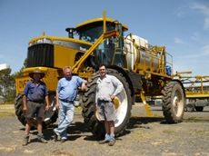 Keith Mudford and sons with their Croplands RoGator 1084 self-propelled sprayer