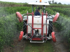 Alf Strano with his Linkage Quantum Mist crop sprayer at his Passionfruit farm in Far North Queensland