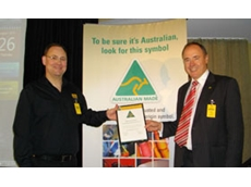 Davey Water Products CEO Carsten Andersen receives the Australian Made Australian Grown certificate of recognition from AMAG CEO Ian Harrison.
