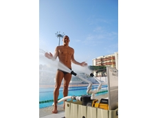 Australian Swimmer, Geoff Huegill with one of the two Davey Cool Pool pump systems