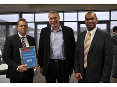 Dematic's General Manager - Real Time Logistics, Nathan Taylor with the award