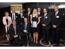 Dematic team accepting Manufacturer's Monthly Endeavour Awards for Steel Innovation