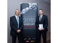Glen Borg, CEO Dematic and Paul Viani, 14 degrees at the Mercury Logistics Awards