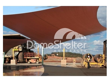 Large scale shade sails have long lasting stainless steel fittings