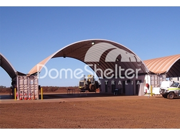 Durable container mounted DomeShelter suitable for all environments