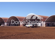 Container mounted DomeShelters for warehousing and equipment storage