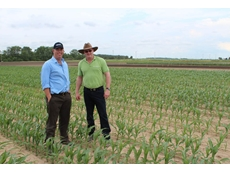 Pasture agronomist Matt Foster and Grain Protection Business Manager for Dow AgroSciences Jon Dadd (R) at the Dow AgroSciences Midwest Research Centre, Fowler, Indiana