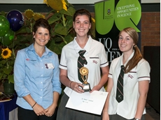 Dow AgroSciences Territory Manager, Rosanna Common with Madeline Kinsley and Taylor Olsen from Glasshouse Country Christian College