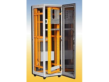 Modular electrical control cabinets with hinged frame, polycarbonate glass door, castors