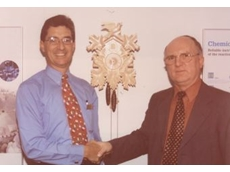 Helmut Wache presenting Endress + Hauser Australia managing director John Immelman with a cuckoo clock.