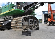 Enerpac cribbing block systems from Jonel Hydraulics supporting a CablePrice tracked vehicle
