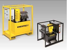 Enerpac SFP-Series Split Flow Pumps in 150 litre, left and 40 litre model, right