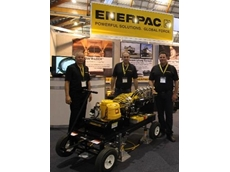 Enerpac team with a Level Lift System: (L-R) Darryl Lange, National Product Manager, Jason Agatsiotis, Territory Manager NSW and Warren Baltineshter, Mining and Integrated Solutions Manager