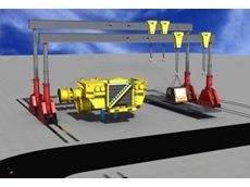 Heavy machinery and trucks assembled and serviced safely and precisely using on-site gantry lifters