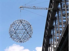 The giant disco ball suspended from the Sydney Harbour Bridge as part of New Year's Eve celebrations: South-West was involved in the hydraulic engineering of raising this centrepiece of the celebrations