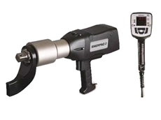 Enerpac's new electric torque wrench, left, and the view from the rear of the tool showing the LED display, right