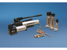 Enerpac's single-acting cylinders, two-speed hand pumps and manual check valves