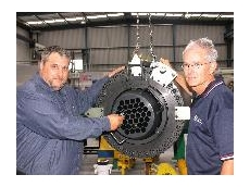 Jonel Hydraulics' Geoge Pavletich and Rob Sweet with one of the first stressing cylinders to come to Australasia