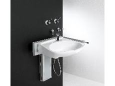 Vertically height adjustable wash basin