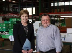 Secretary of Australian Government Department of Industry, Glenys Beauchamp (L) and Enware Chairman, Paul Degnan (R)