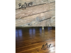 The heritage floor – before and after the application of Timberseal and Monothane Satin