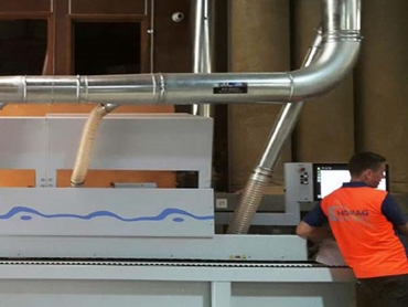 Ezi duct ducting manifold installed on homag edgebander for Kitchen manufacturers sydney