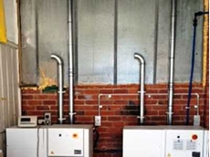 Modular ducting used for dust collection system in Melbourne fibreglass factory